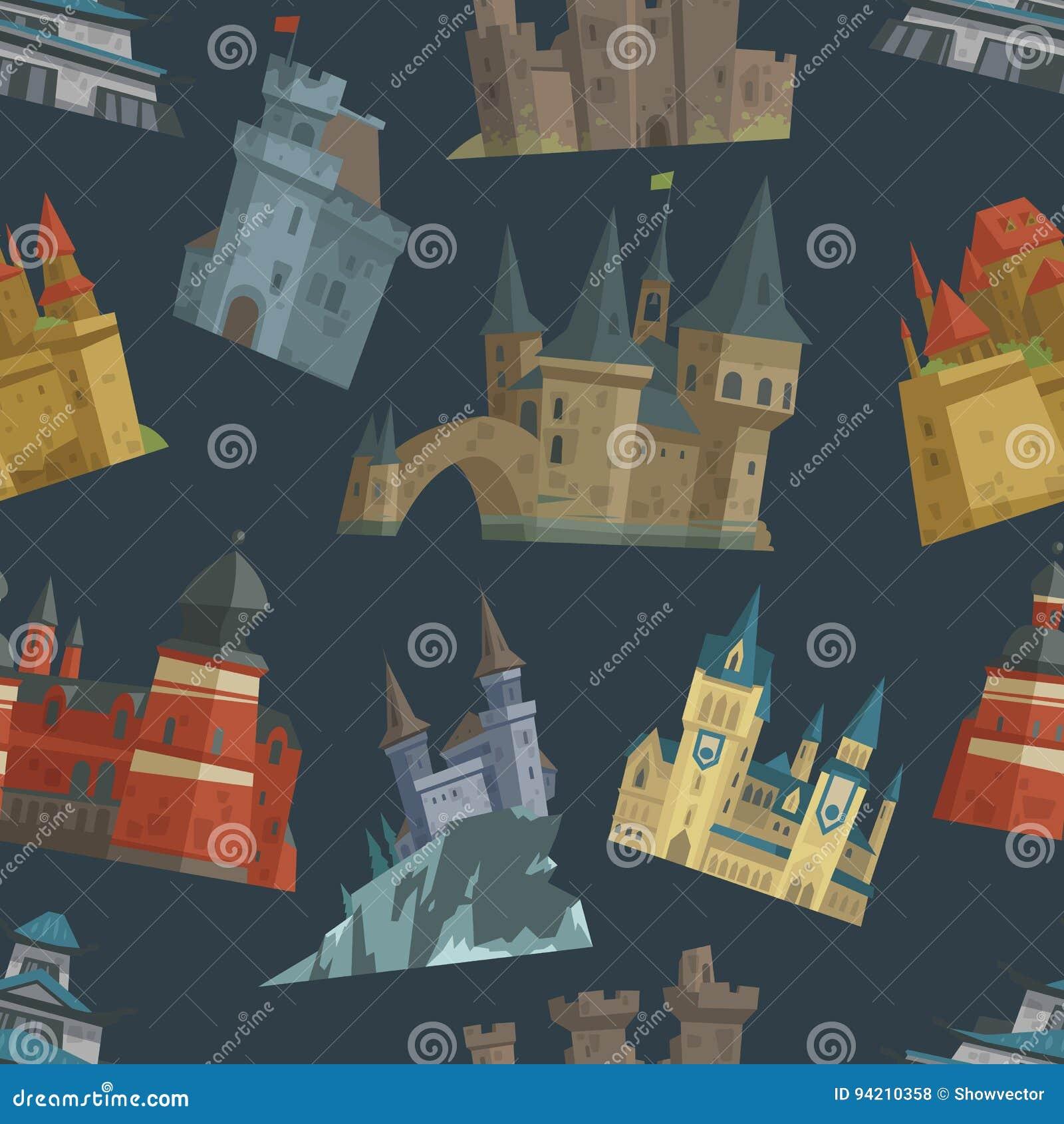 Arquitetura trapezoide da torre do palácio do castelo do conto de fadas dos desenhos animados que constrói o vetor sem emenda do
