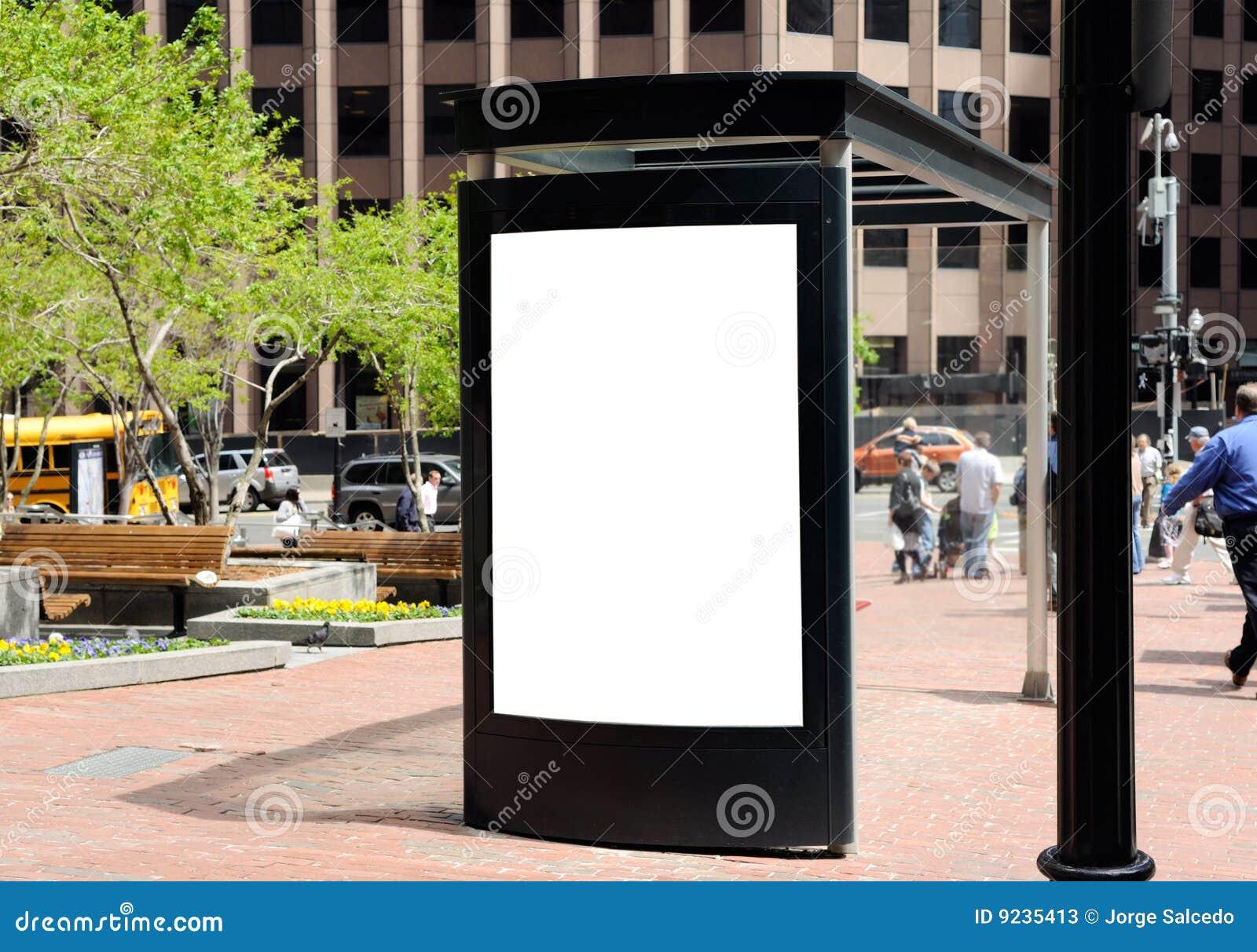 arr t de bus de panneau r clame image stock image du public affiche 9235413. Black Bedroom Furniture Sets. Home Design Ideas