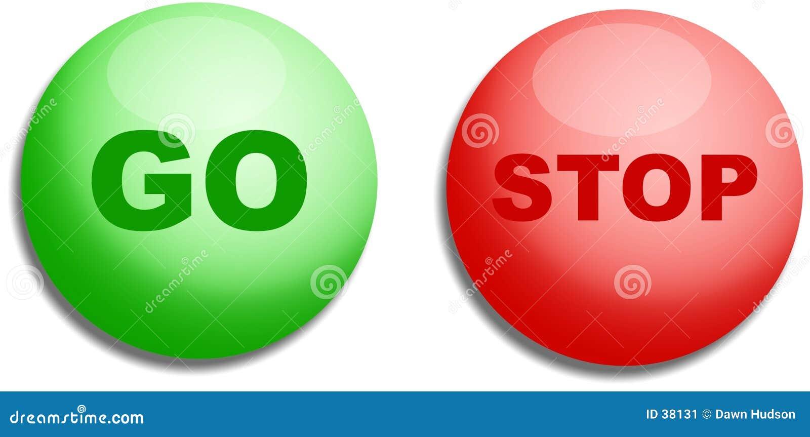 Arrêtez et allez des boutons