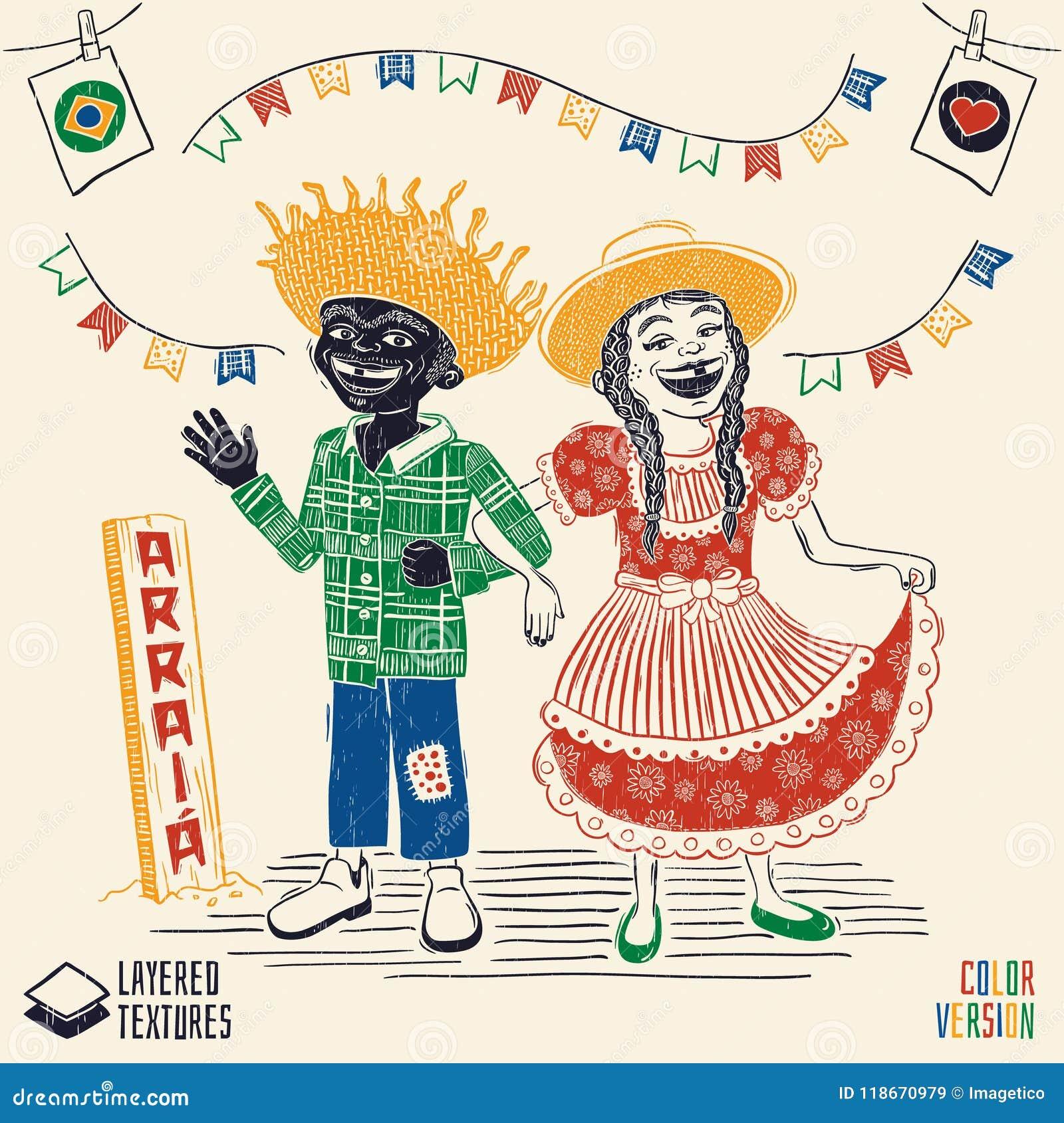 Arraia Means Village, Also Name June Parties - Happy