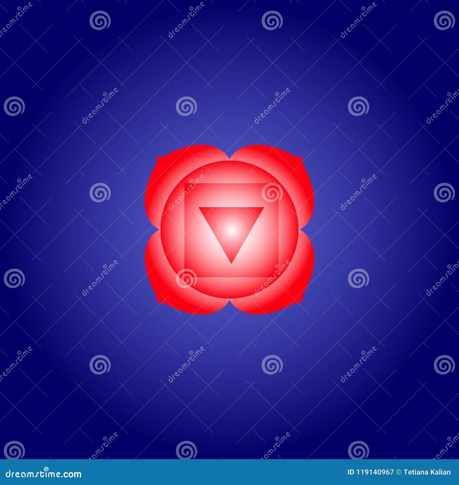 Arraigue El Chakra Muladhara En Color Rojo En Fondo Azul Marino Del