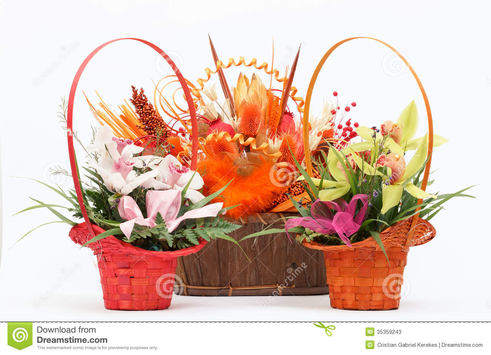 Arrangement of beautiful fresh flowers in wooden basket stock image arrangement of beautiful fresh flowers in wooden basket izmirmasajfo