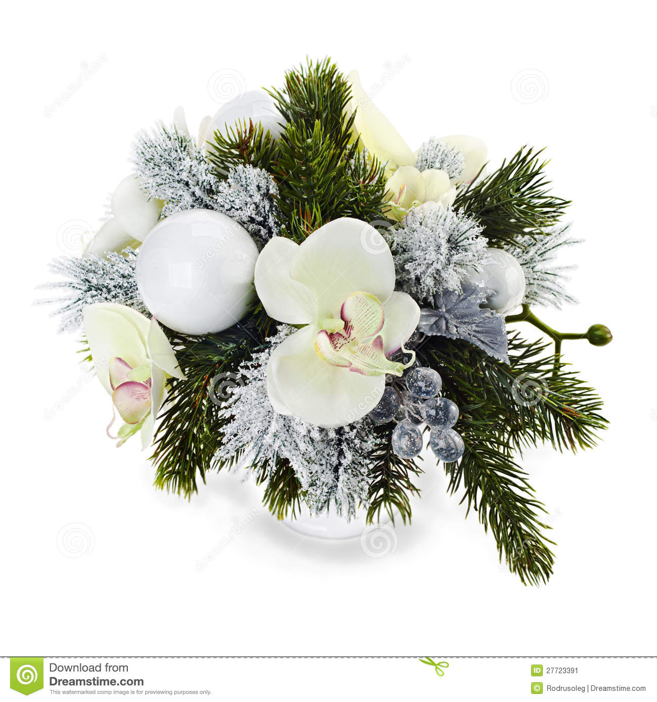 Arrangement of christmas balls orchids stock image Christmas orchid arrangements