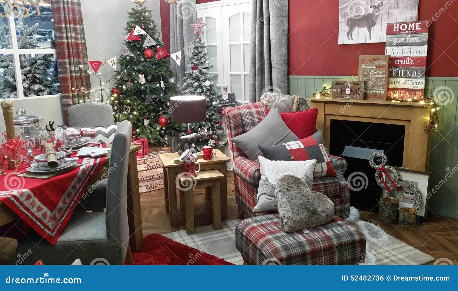 Arrangement Confortable De Decoration De Salon D Hiver De Noel Photo