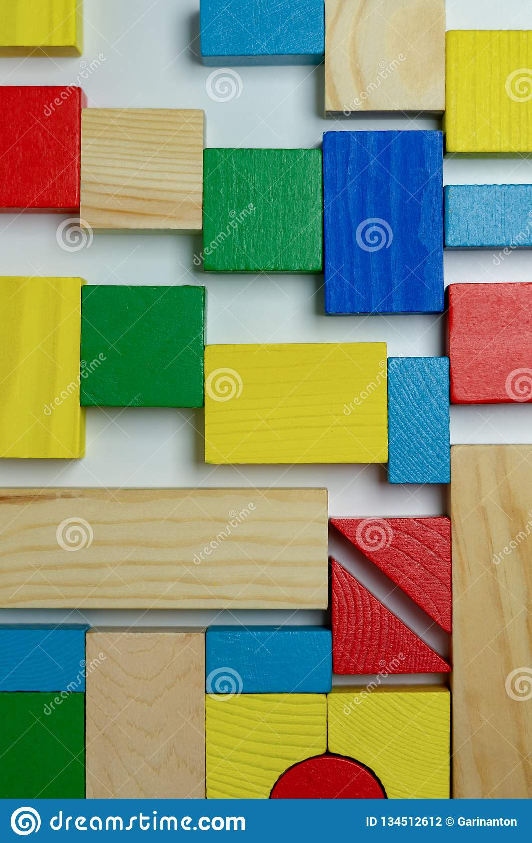 Arrangement of different colorful building bricks