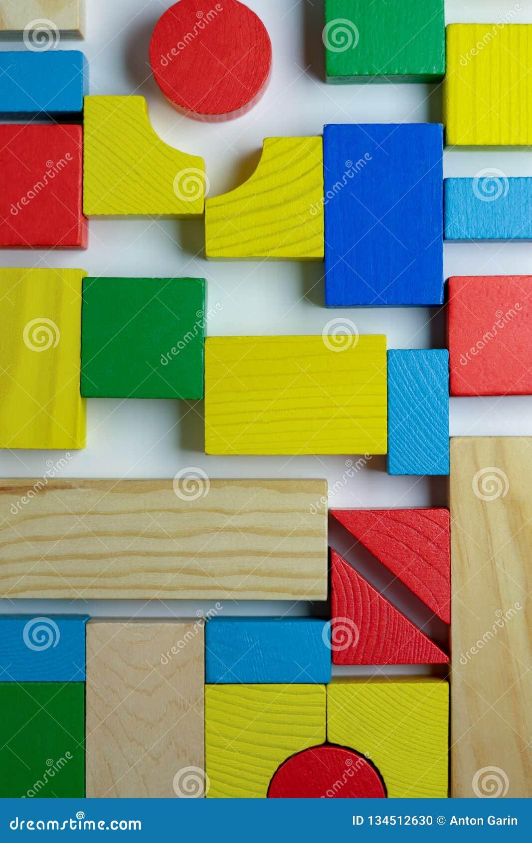 Arrangement of different colorful building bricks