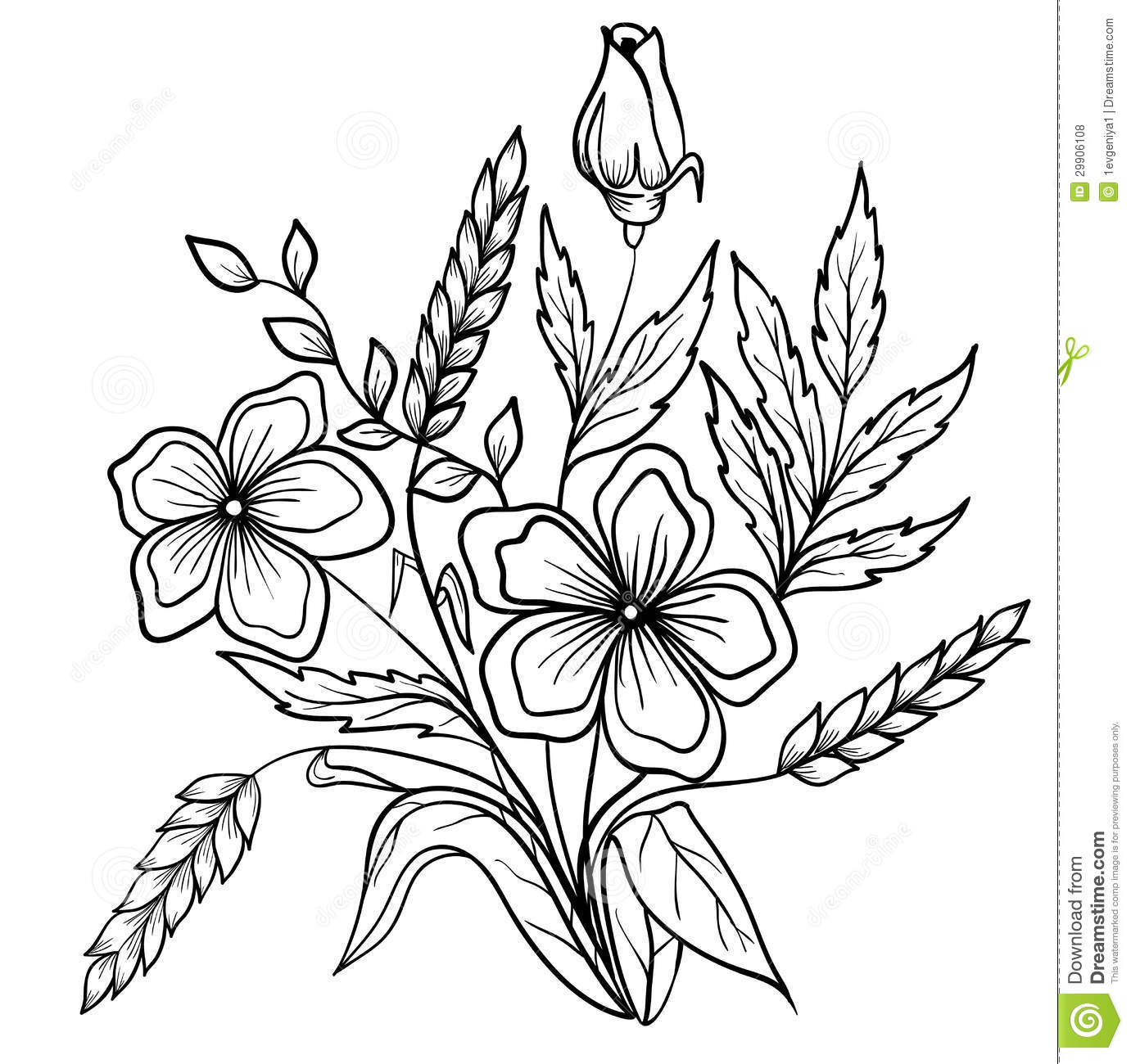 Arrangement Of Flowers Black And White. Outline Drawing