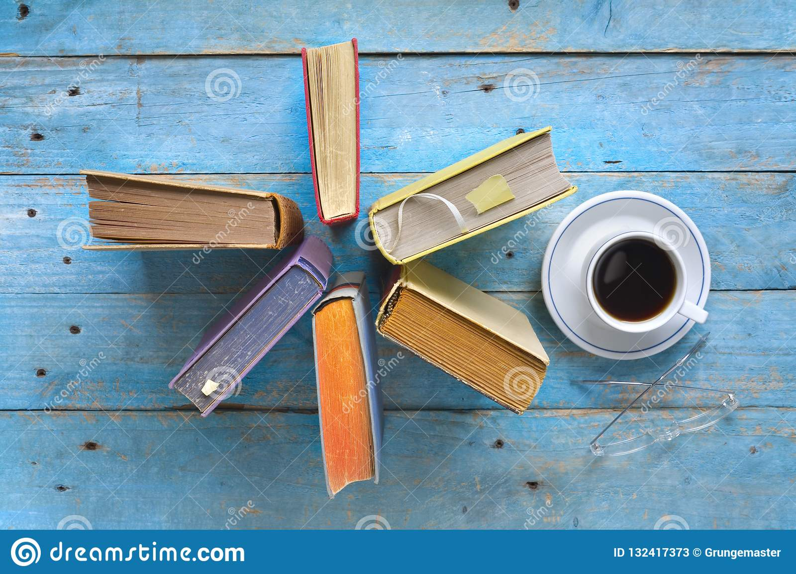 Arrangement Of Old Books,cup Of Coffee And Specs, Free Copy