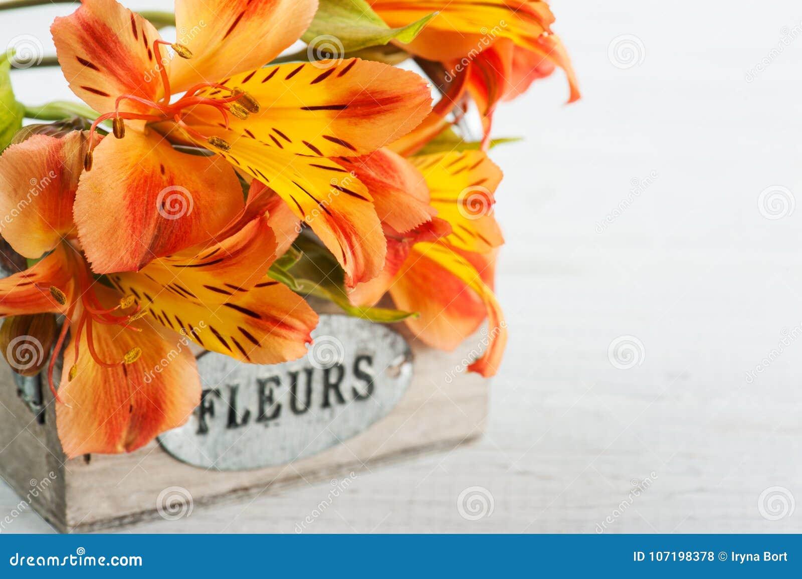 Arrangement of orange lily flowers in wooden box stock photo image arrangement of orange lily flowers in wooden box izmirmasajfo