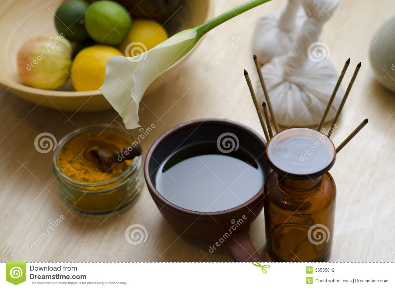 an arrangement of spice oil and massaging tools used in ayurved stock photo image 36585012. Black Bedroom Furniture Sets. Home Design Ideas