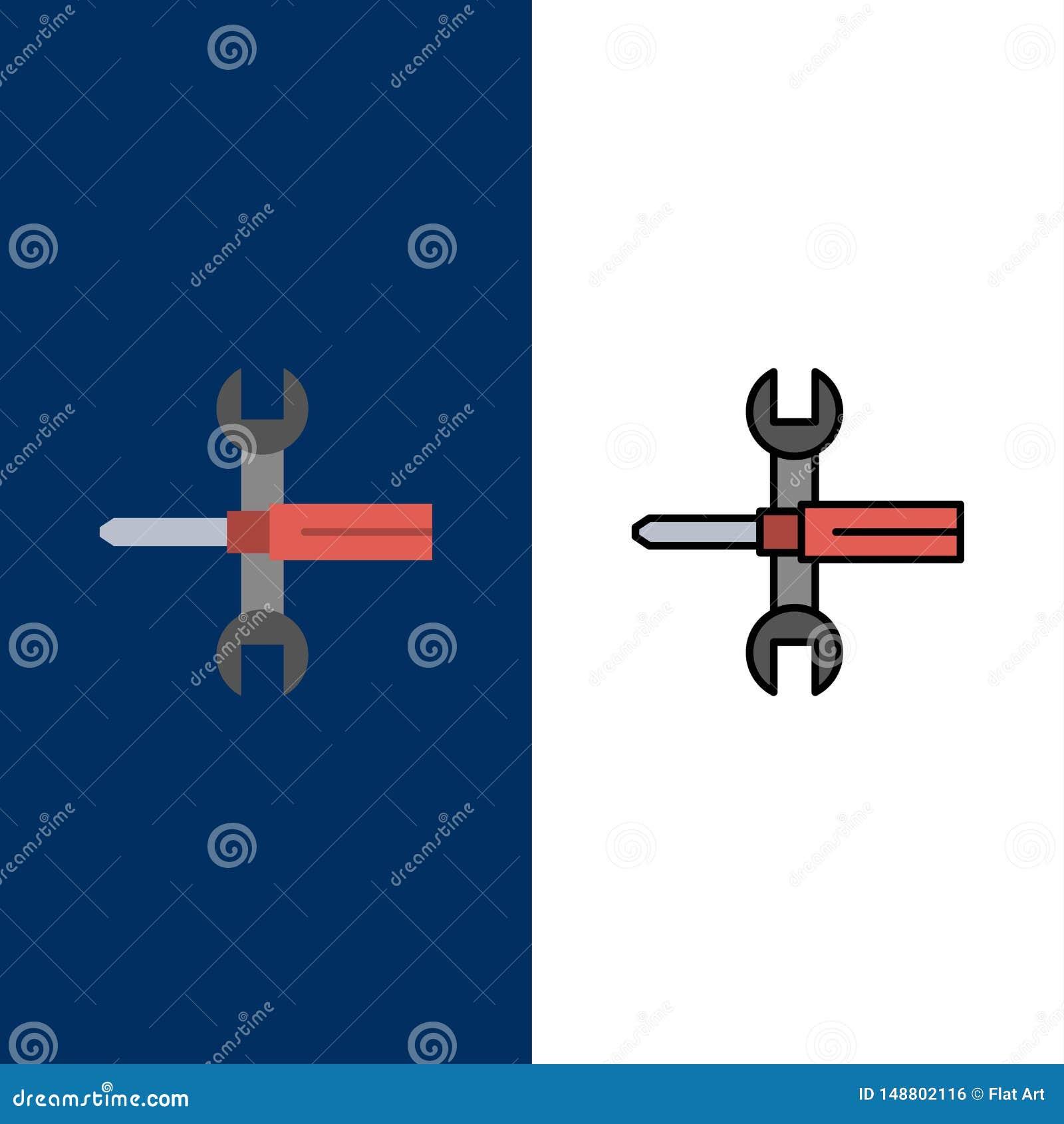 Arrangements, contrôles, tournevis, clé, outils, icônes de clé L appartement et la ligne icône remplie ont placé le fond bleu de