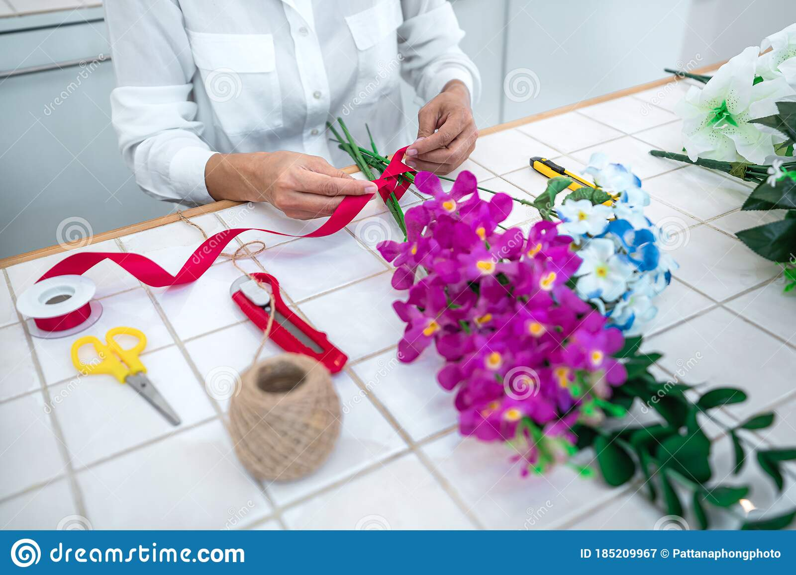 Arranging Artificial Flowers Decoration At Home Young Woman Florist Work Making Organizing Diy Artificial Flower Craft And Hand Stock Image Image Of Business Decor 185209967