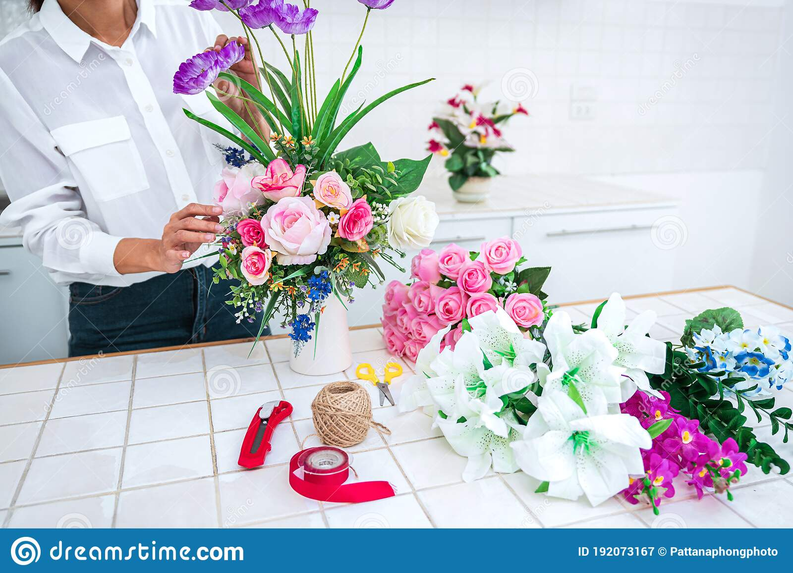 Arranging Artificial Flowers Decoration At Home Young Woman Florist Work Making Organizing Diy Artificial Flower Craft And Hand Stock Image Image Of Artificial Hand 192073167
