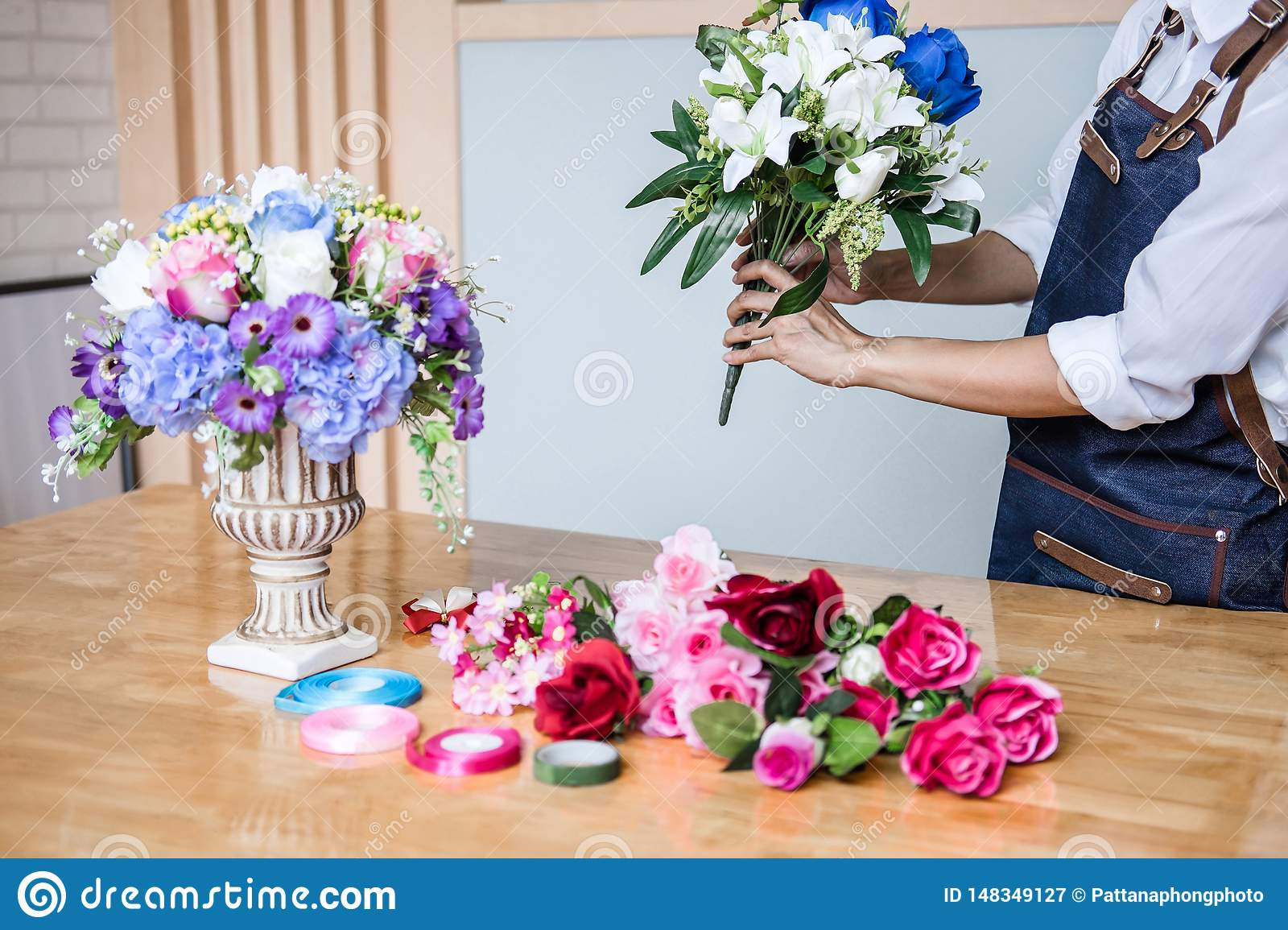 Arranging Artificial Flowers Vest Decoration At Home Young Woman Florist Work Making Organizing Diy Artificial Flower Craft And Stock Image Image Of Happy Decoration 148349127