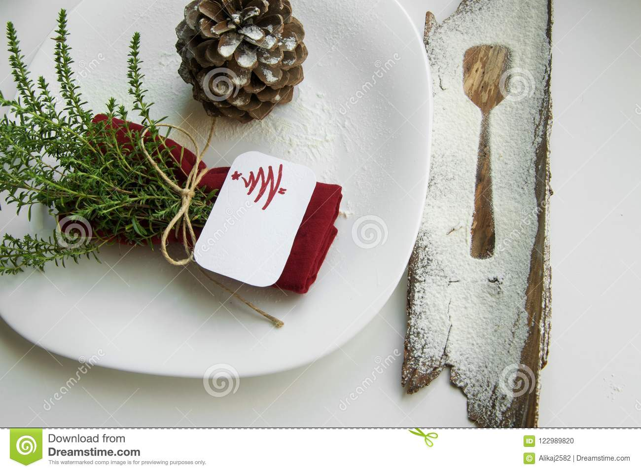 Arranging the table for the winter holidays concept