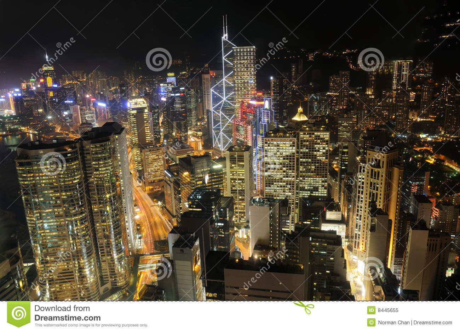 Arranha-céus de Hong Kong na noite