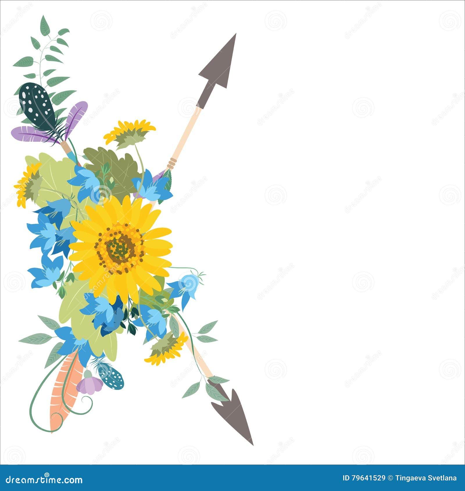 Arranjo de flor com as setas do kolokolchiklm dos girassóis