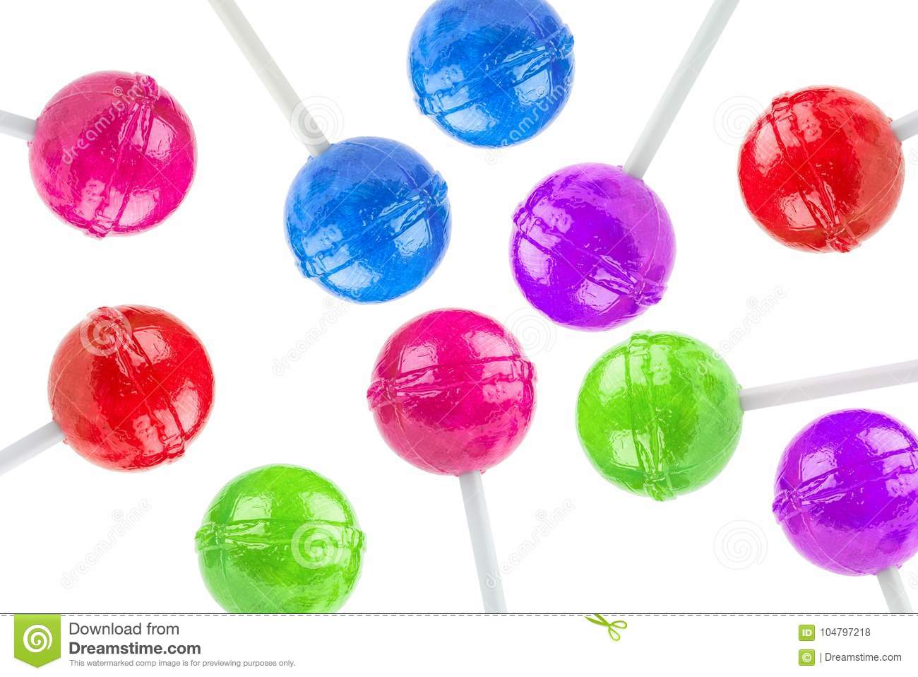 An array of colored lollipops