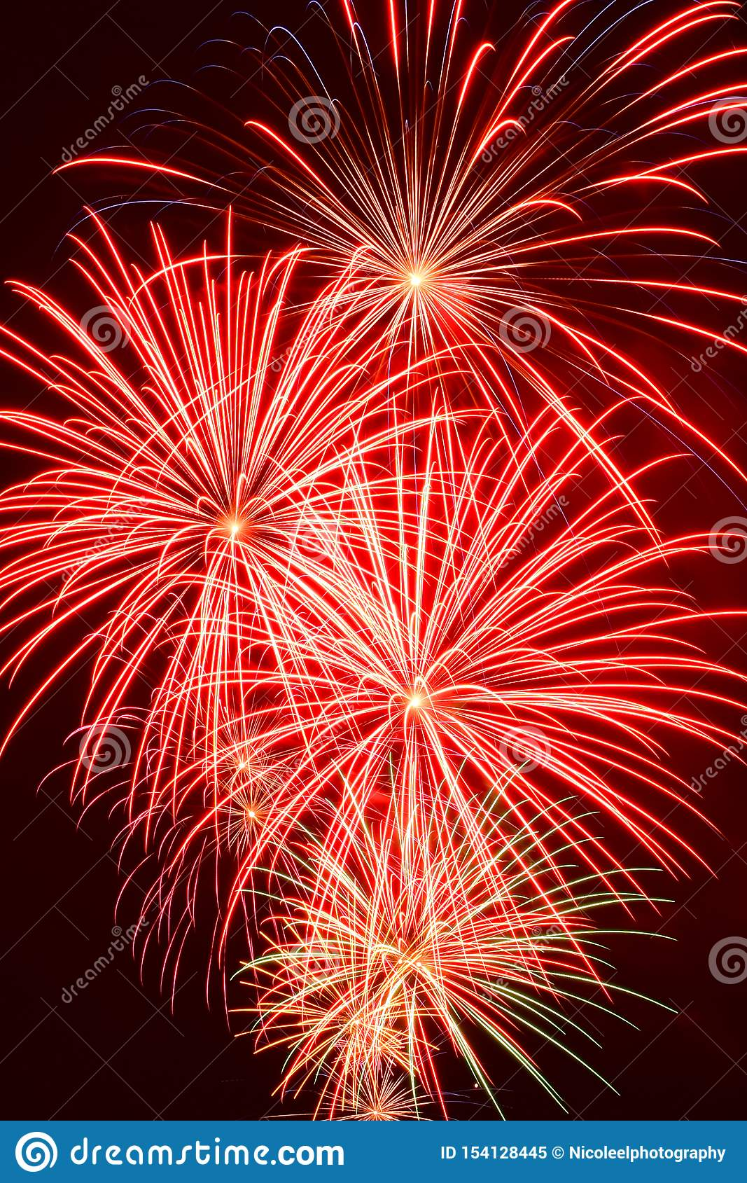 Array of Fireworks Burst in Portrait Orientation
