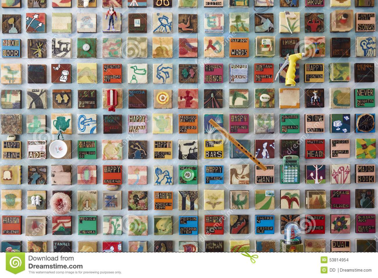 Array of handicrafts editorial stock image image 53814954 for Handicraft made by waste material