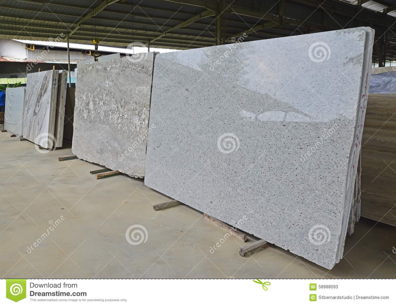 An array of newly arrived natural stones in a warehouse