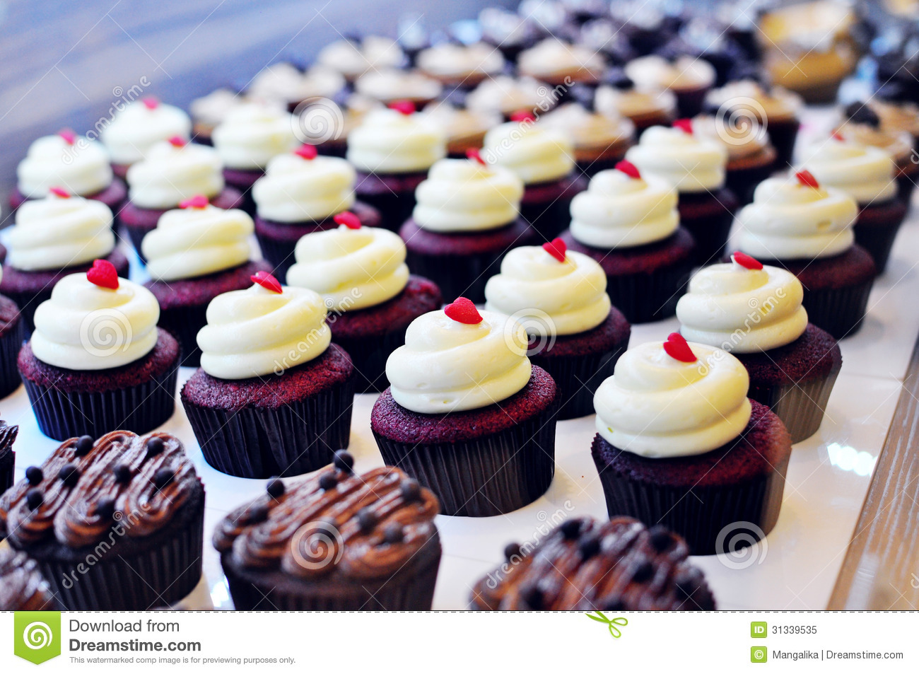 arrays of cute cupcakes royalty free stock photo