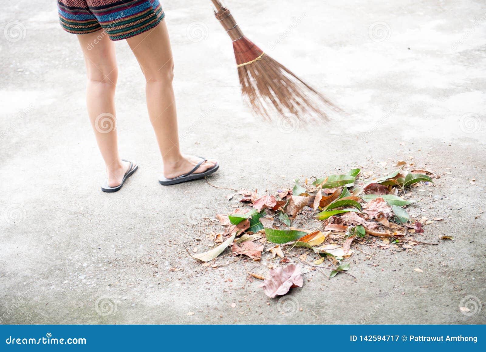 Arrebatador seque las hojas con la escoba