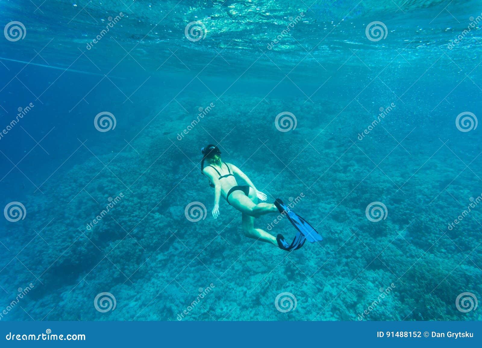 Arrecife de coral hermoso con la mujer joven del freediver, vida subacuática Copyspace para el texto