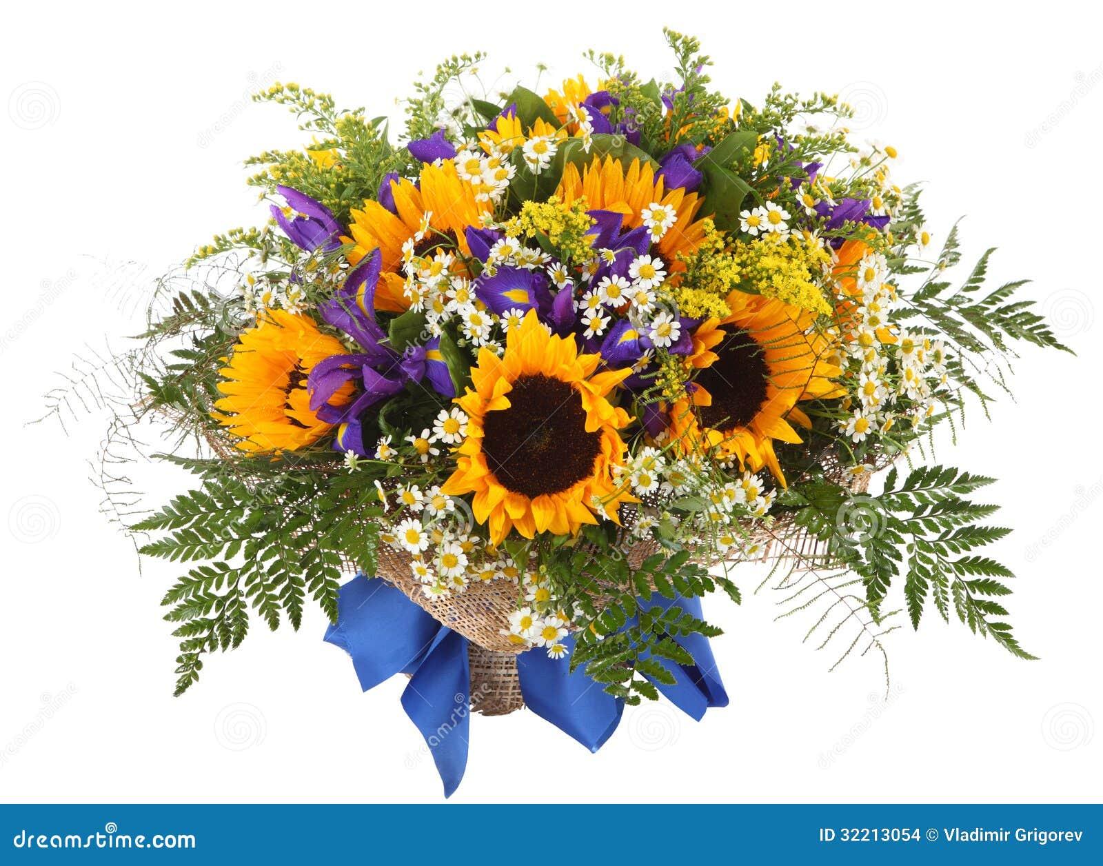 Arreglo Floral De Girasoles De Margaritas De Helechos Y De