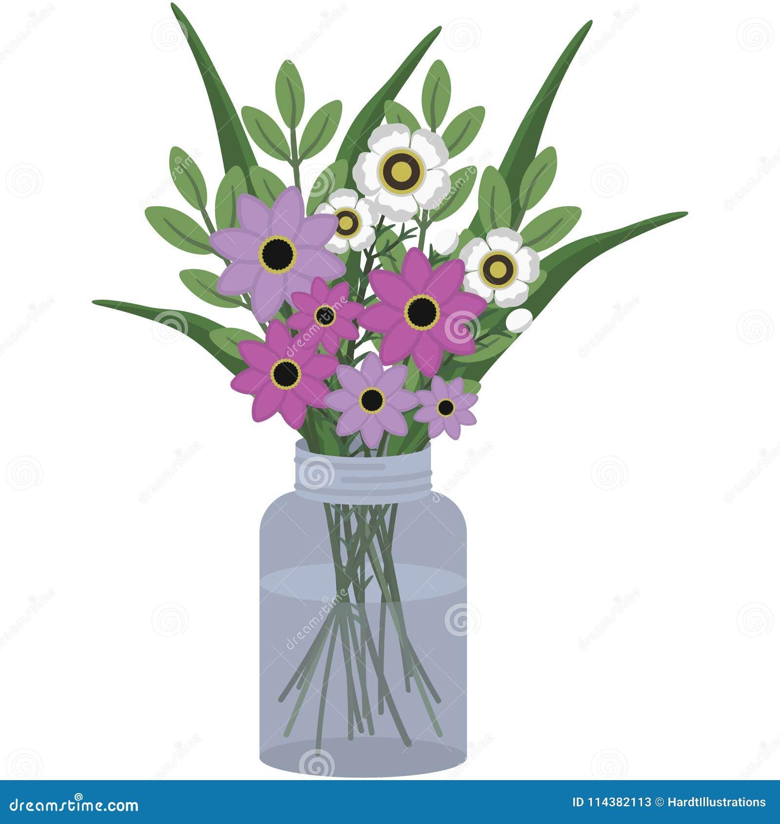 Arreglo Floral Del Rosa Y Blanco En Mason Jar Ilustración