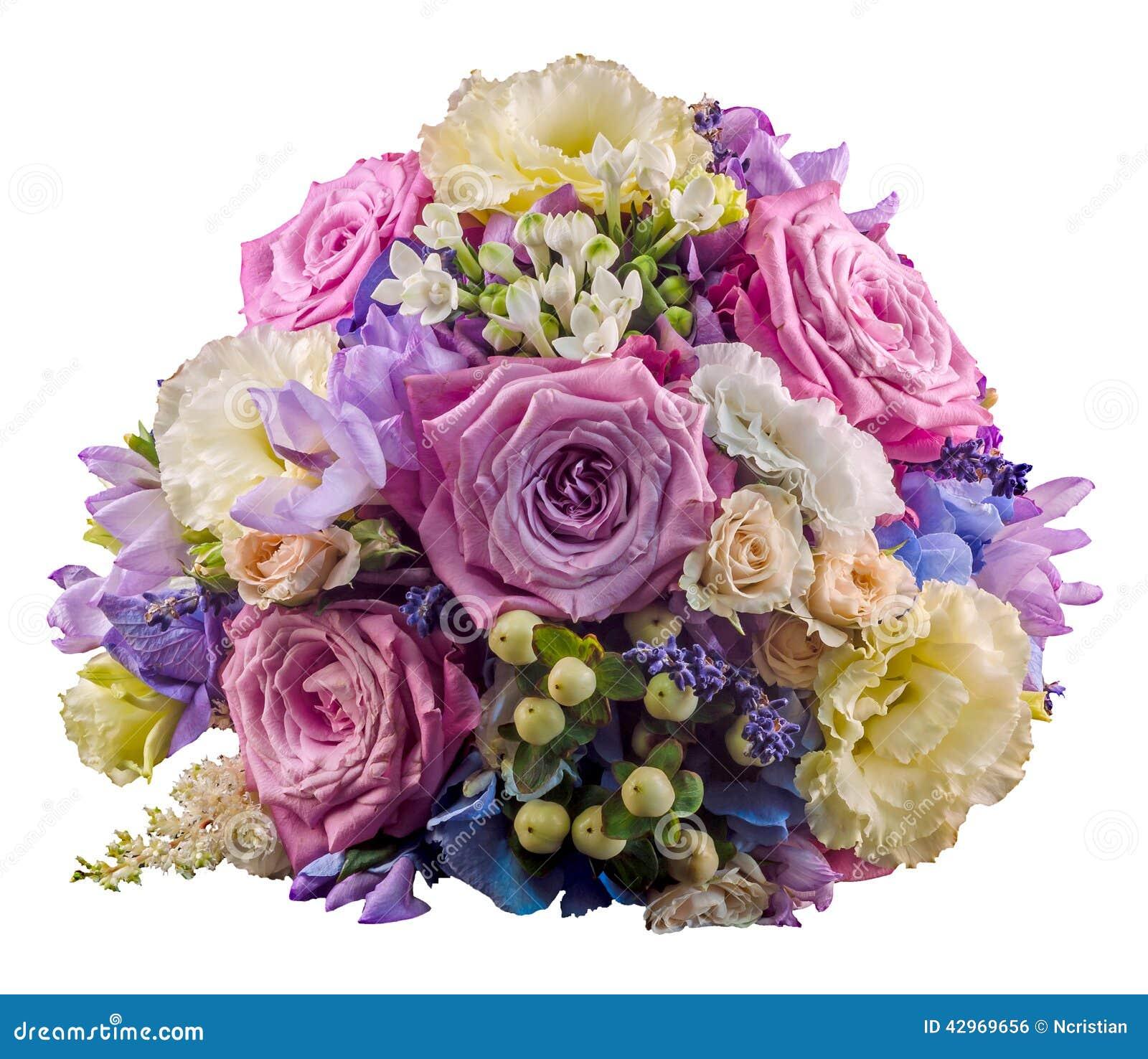 arreglo floral vivo con las rosas y la hortensia de color de malva hortensis imagen de