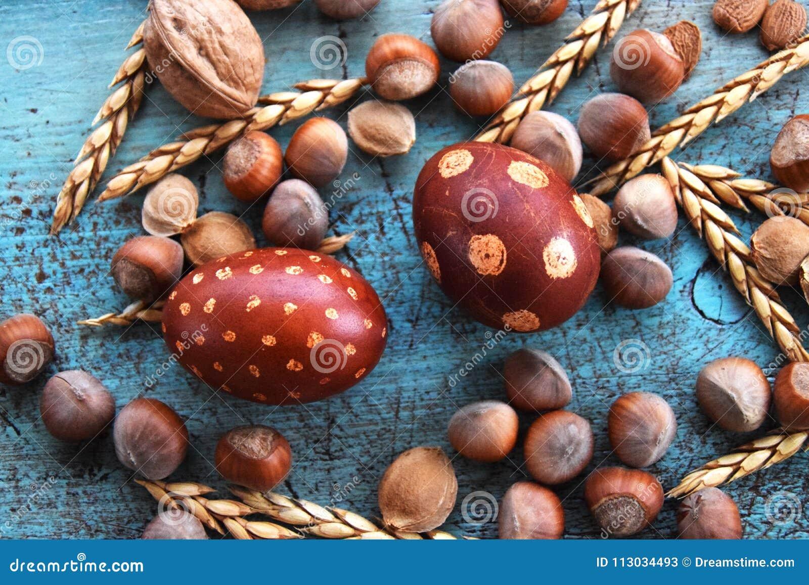 Arreglo natural de los huevos de Pascua con las avellanas, deletreadas, huesos de albaricoque nueces