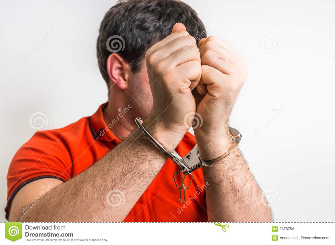 Download Arrested Man In Handcuffs Hidden His Face Stock Image - Image of covers, prisoner: 83787841
