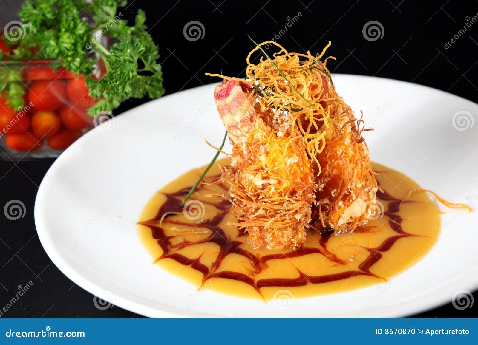 Arrières de langoustine frits