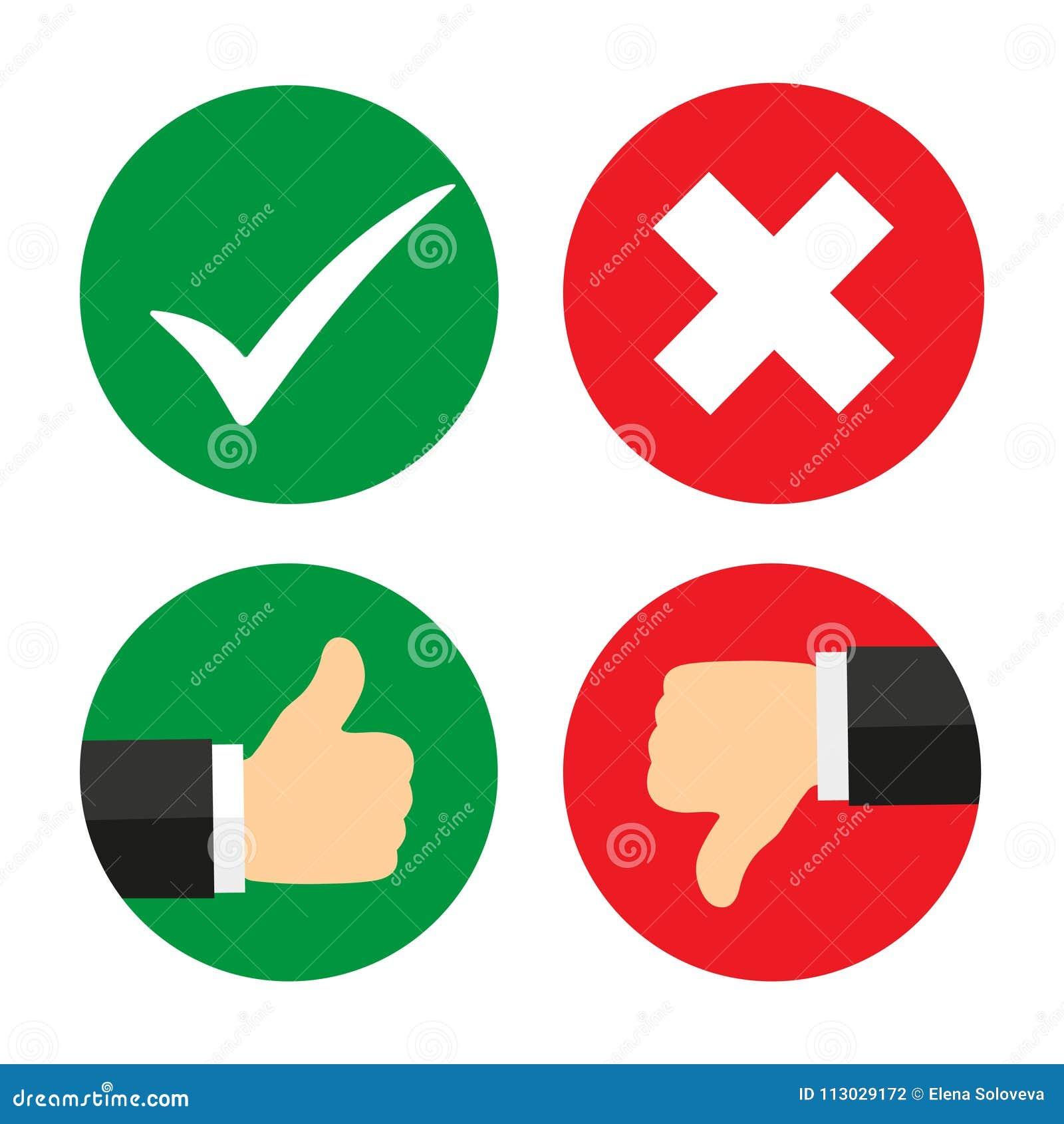 Arriba y abajo del dedo índice con la marca de verificación y la cruz
