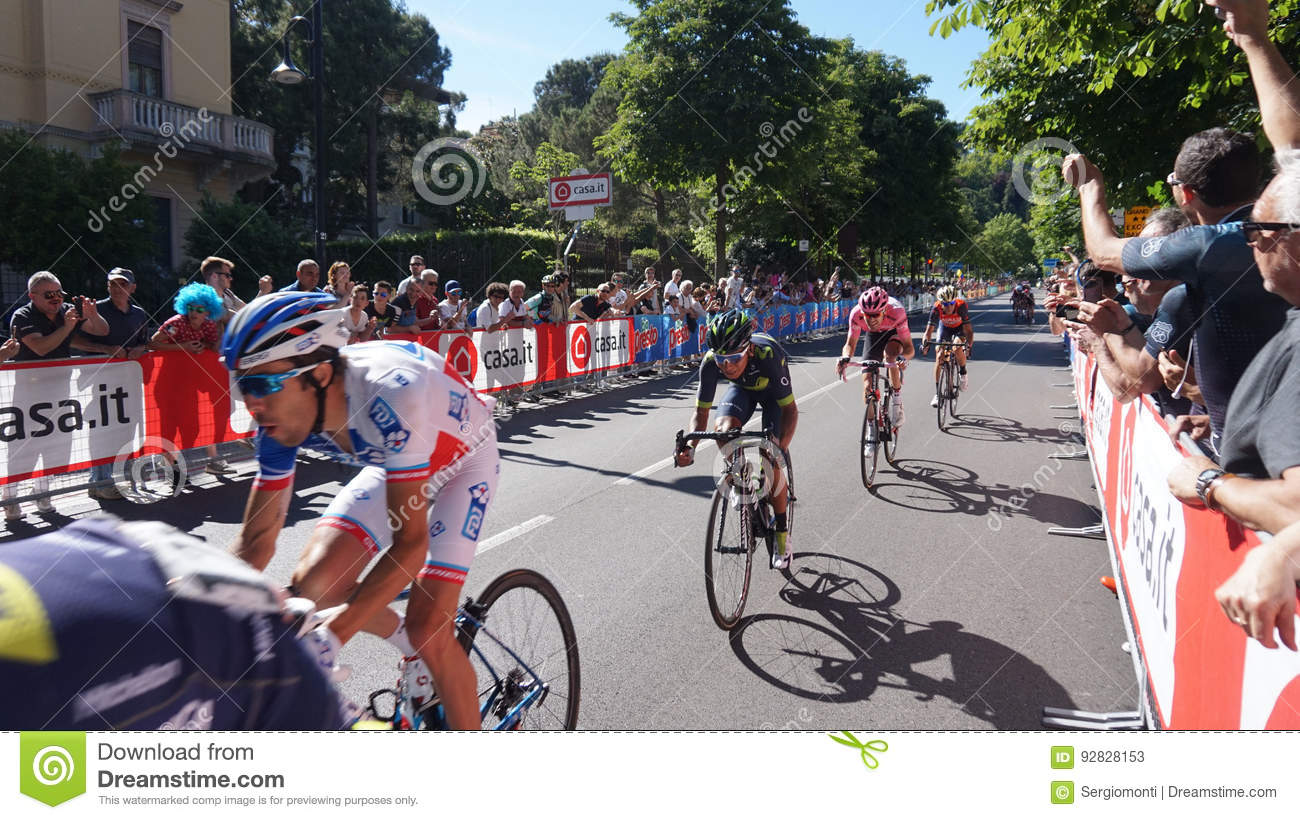 Arrival in Bergamo stage of the 100th edition of Giro d`Italia annual multiple-stage bicycle race recognizable to cyclists Pinot,