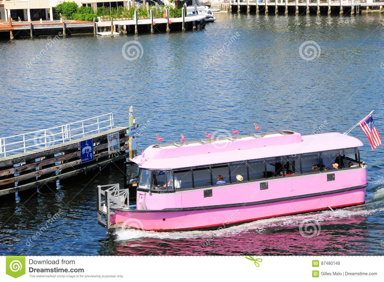 Arrival of pink water taxi, South Florida