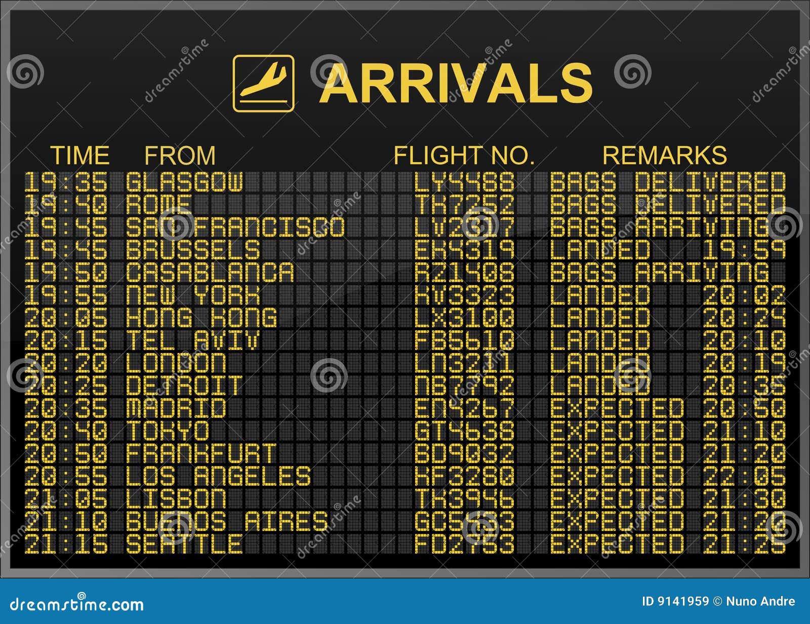 Arrivals Board Stock Illustration Illustration Of Flight