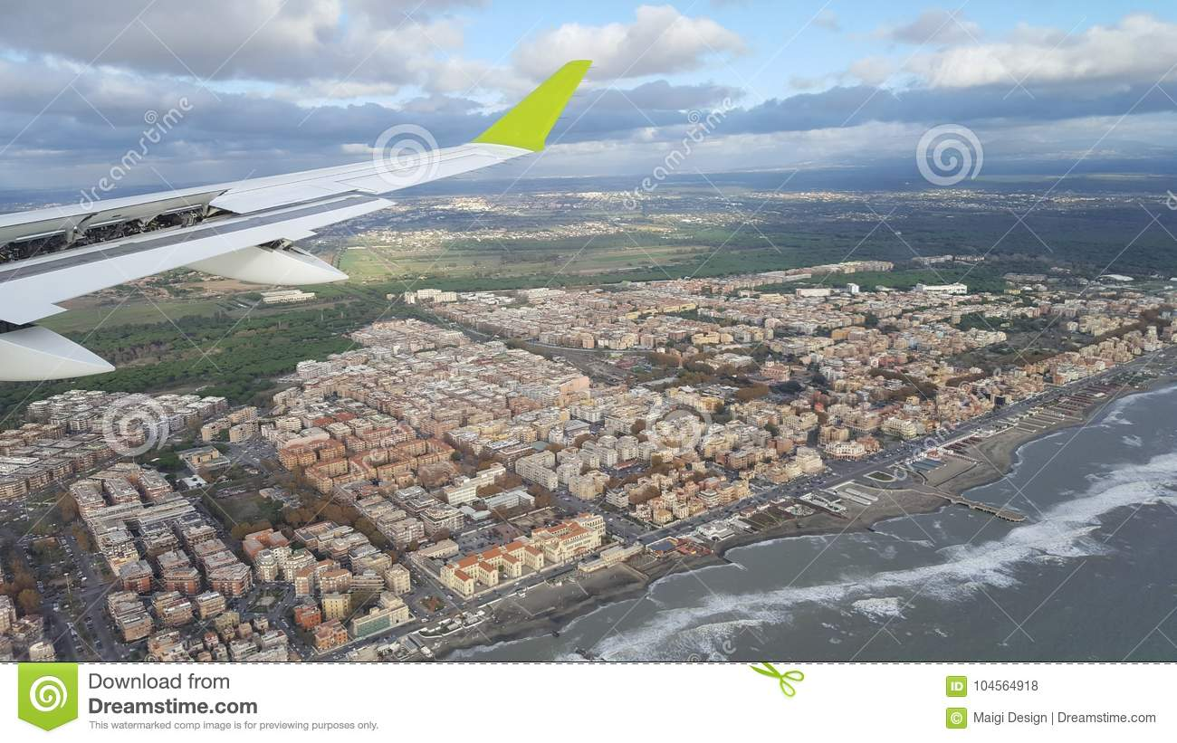 Arriving to Rome, Italy by plane
