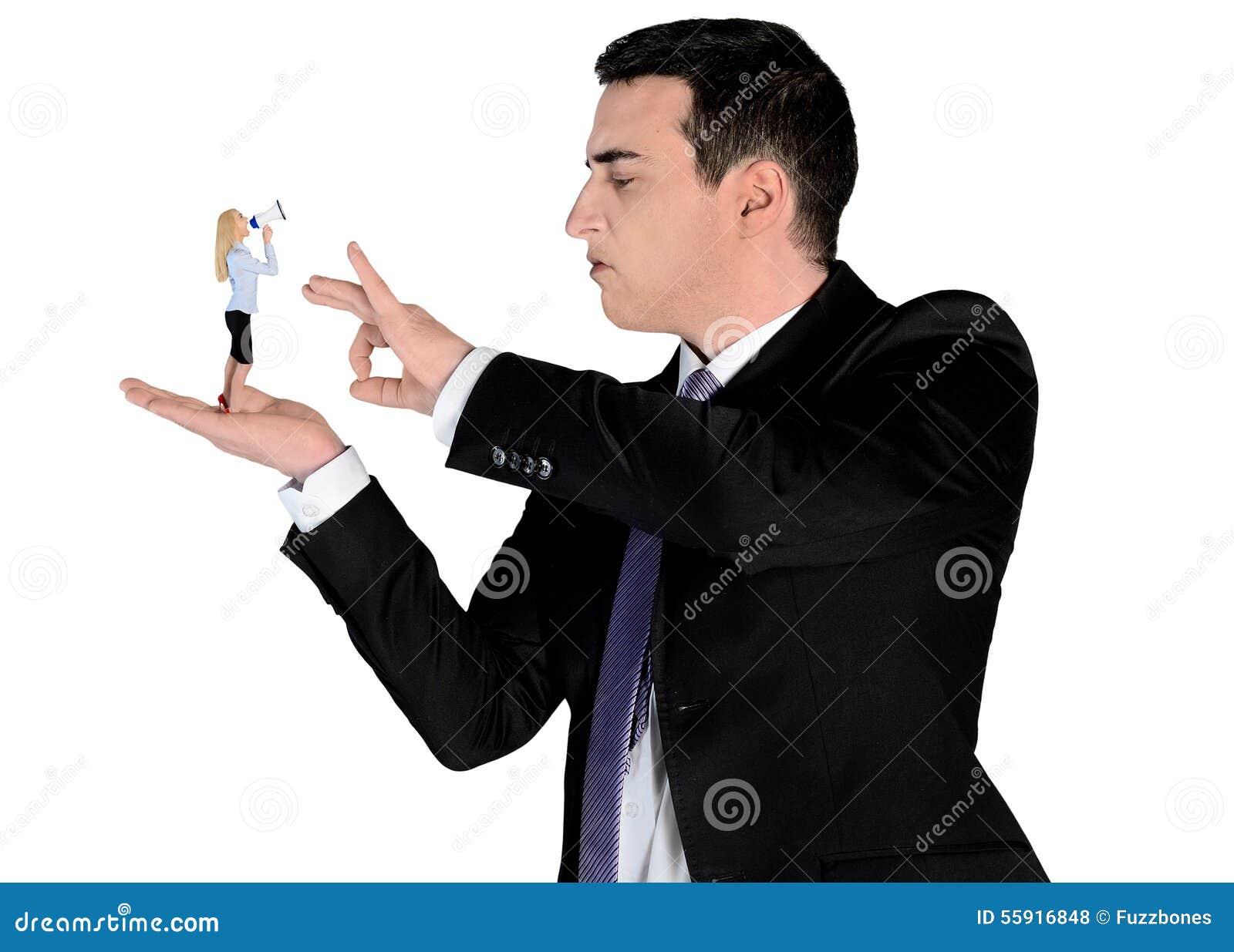 Arrogant Business Man Finger Flipping On Little Woman Stock Photo ...