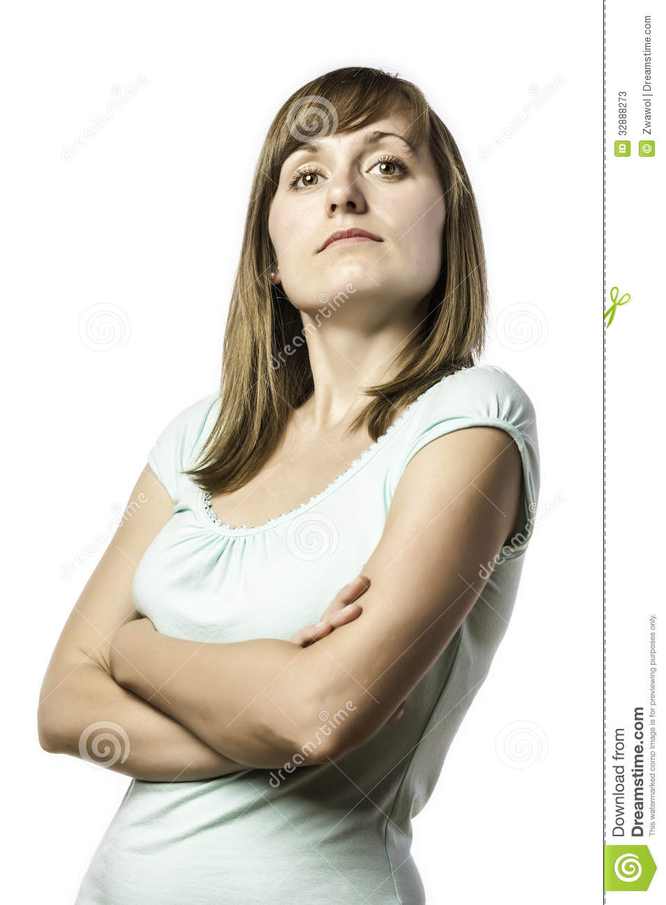 Arrogant Looking Young Standing Woman Stock Image