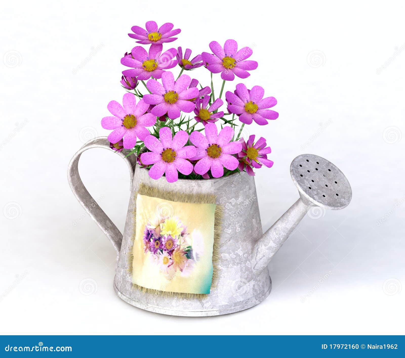 arrosoir m tallique avec les fleurs roses photo stock image 17972160. Black Bedroom Furniture Sets. Home Design Ideas