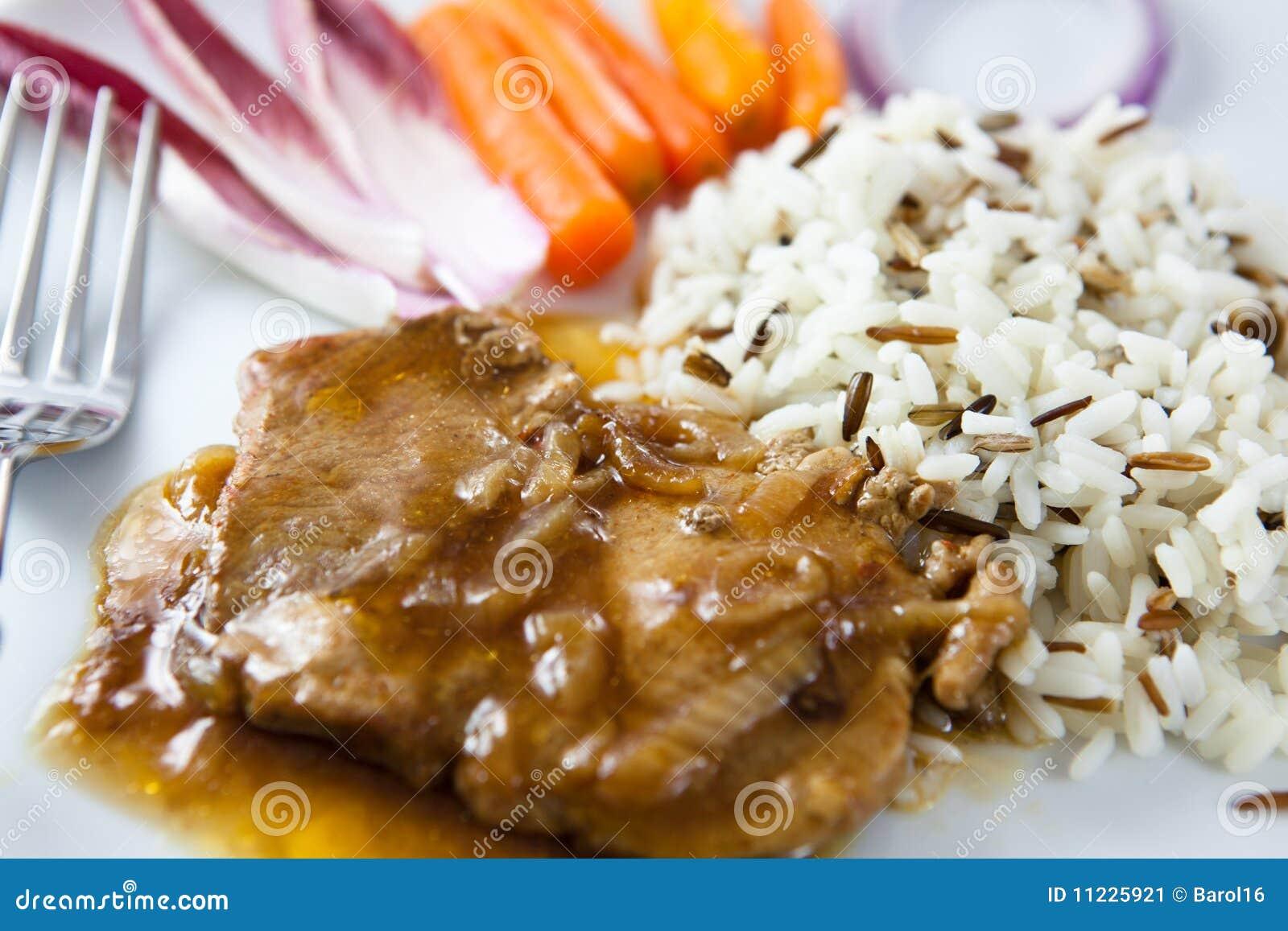 Arrosto di maiale con riso