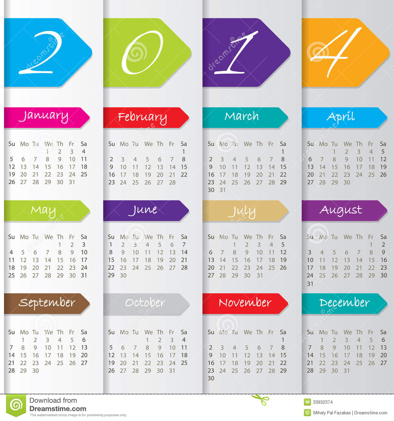 Yearly Calendar Design : Arrow calendar design for stock images image