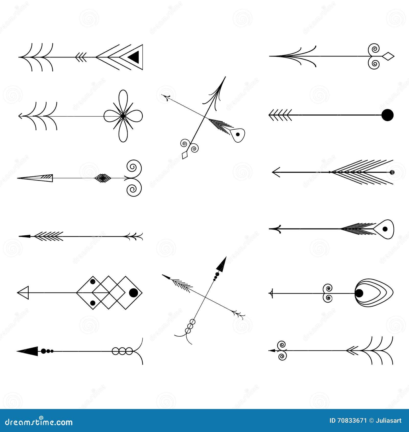Line Art Arrow : Arrow clip art tribal vintage retro arrows set vector