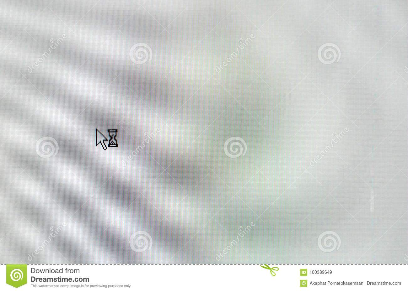 Arrow Computer Mouse Pointer And Sand Glass Symbol On White Lcd