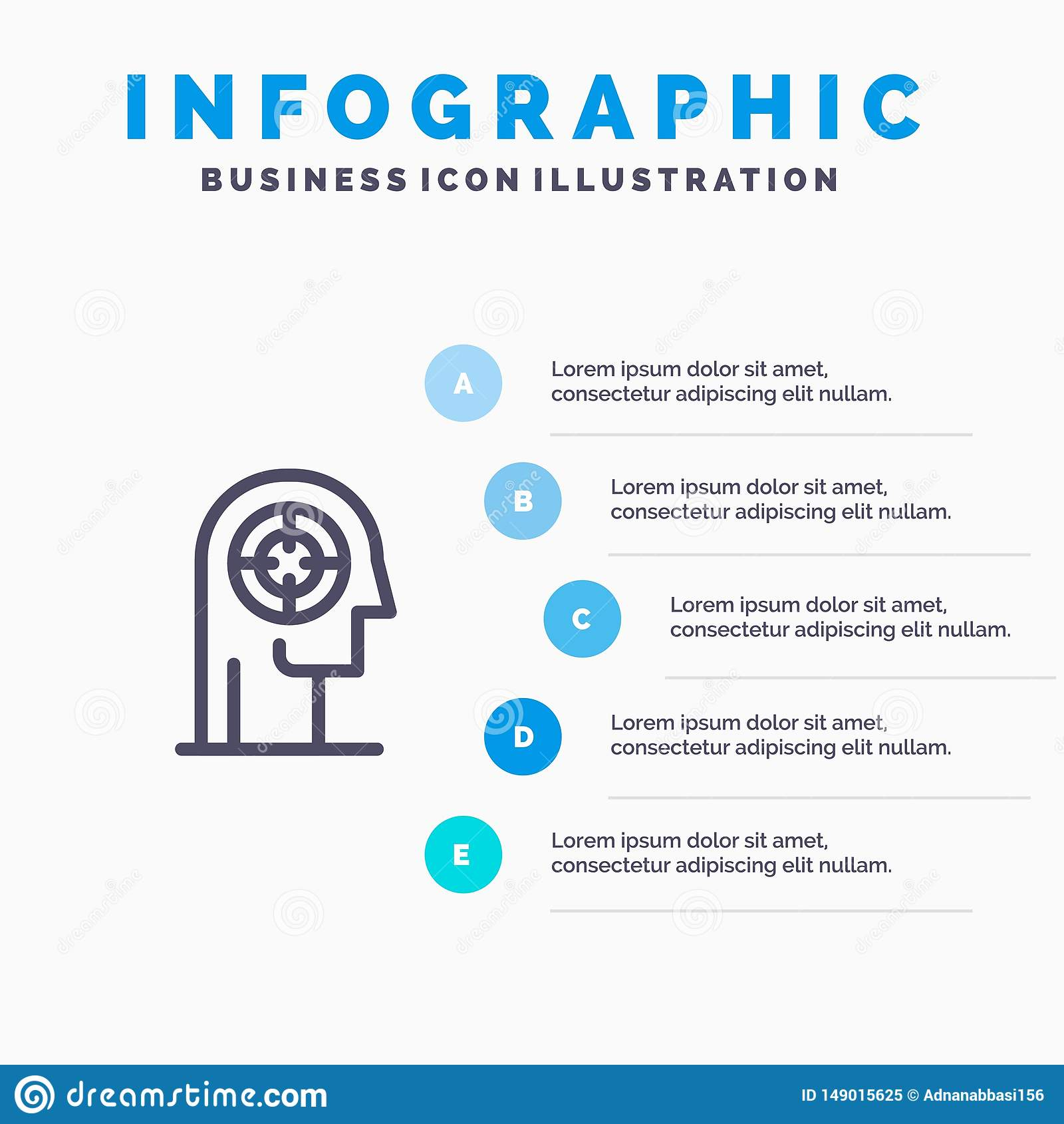 Arrow, Concentration, Focus, Head, Human Line icon with 5 steps presentation infographics Background