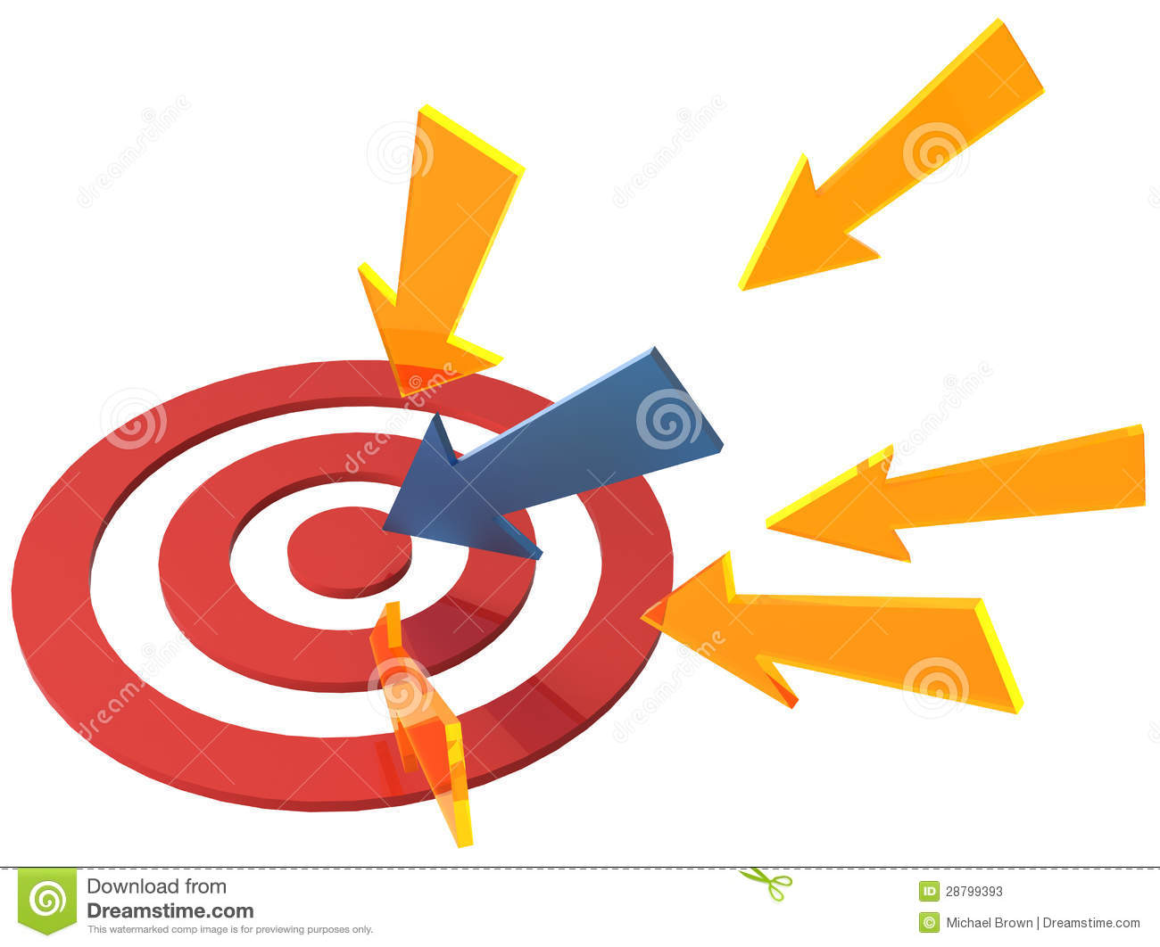 Arrow Directions Point At Target Bullseye Stock Illustration