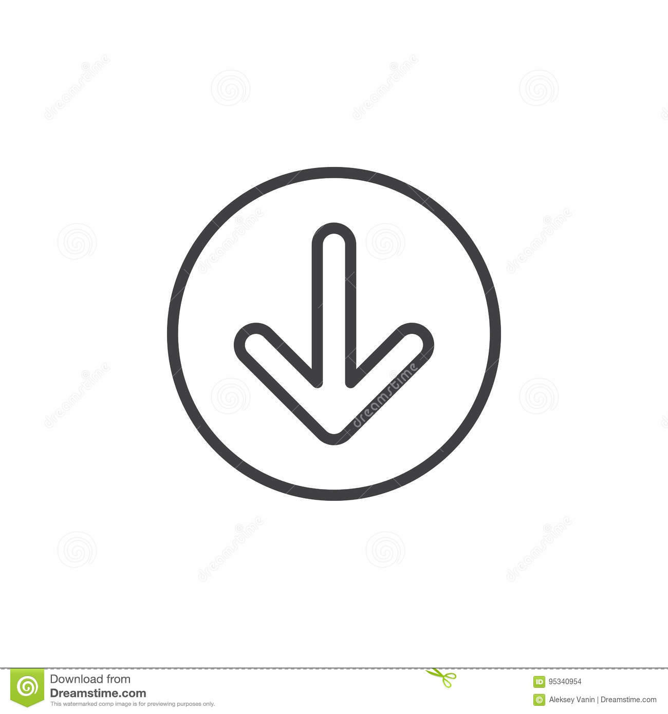 Arrow Down Circular Line Icon Round Simple Sign Stock Vector