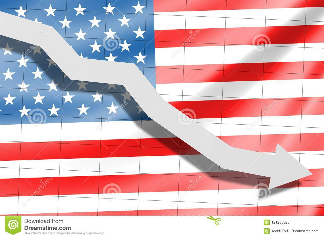 The arrow falls on the background of the American flag